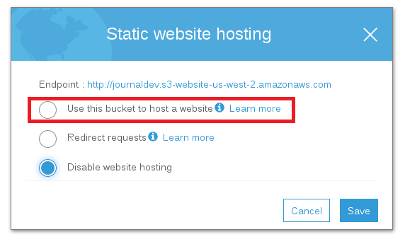 Static Web Hosting Select Options