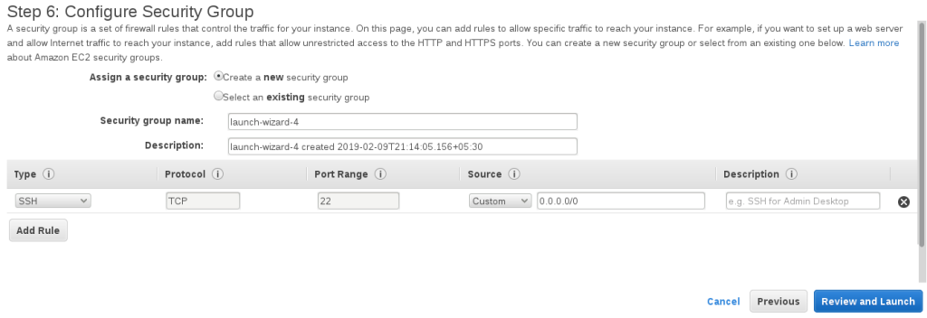 Step 6 Configure Security Group