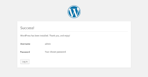 Wordpress Install Confirmation Page