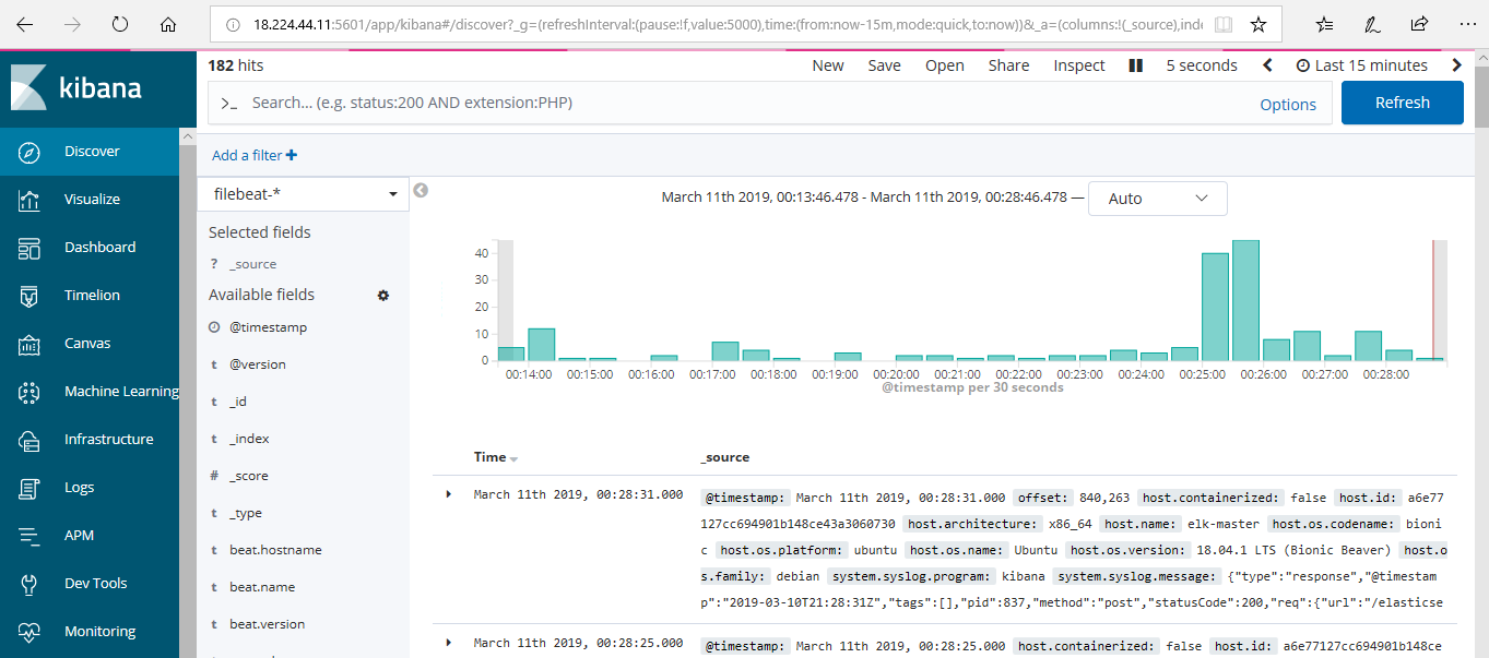 Kibana Filebeat Data
