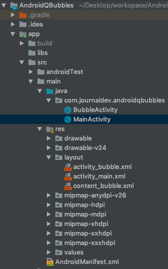 Android Q Bubble Project Structure