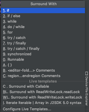 Android Studio Shortcut Enclose Statements