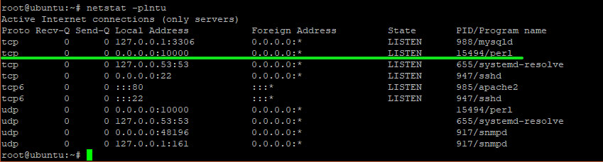 netstat -pnltu command to check if port is listening