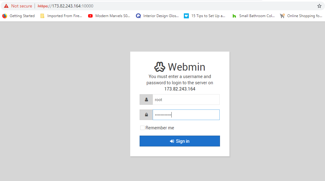 Webmin Log In