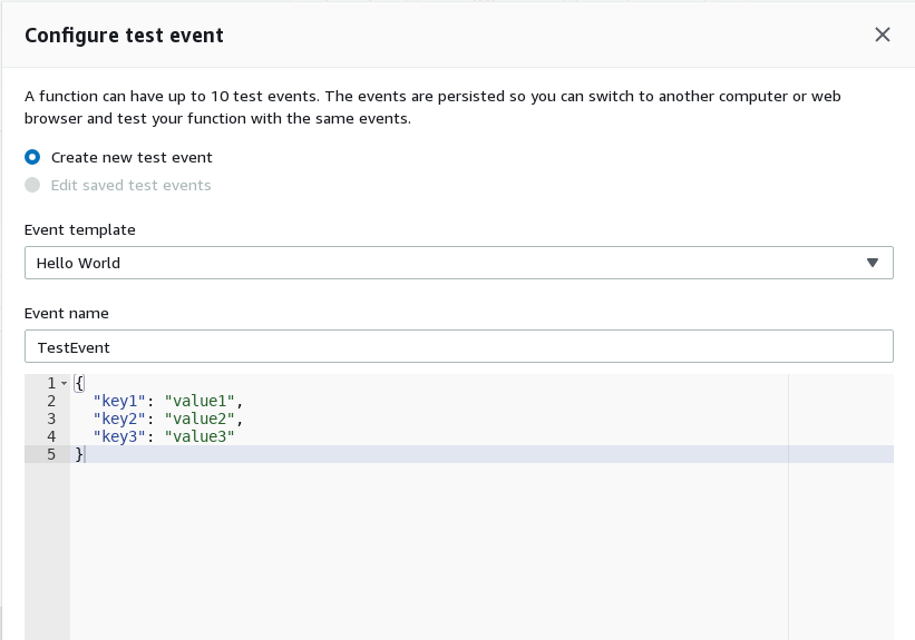 Configure Test Event