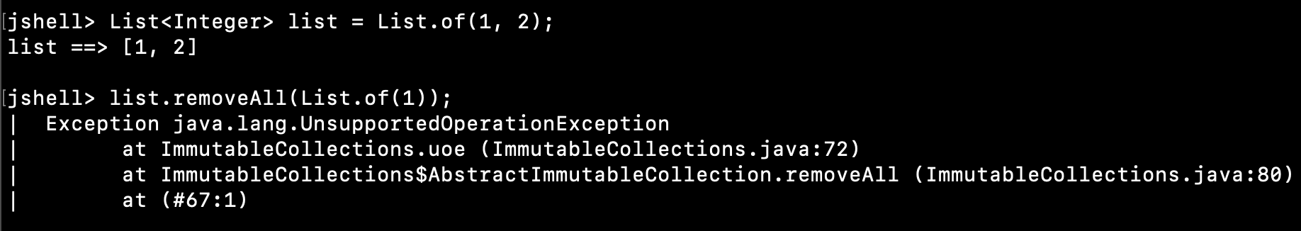 Java List RemoveAll UnsupportedOperationException
