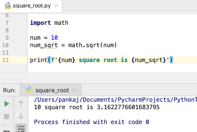 Python Square Root Of Number