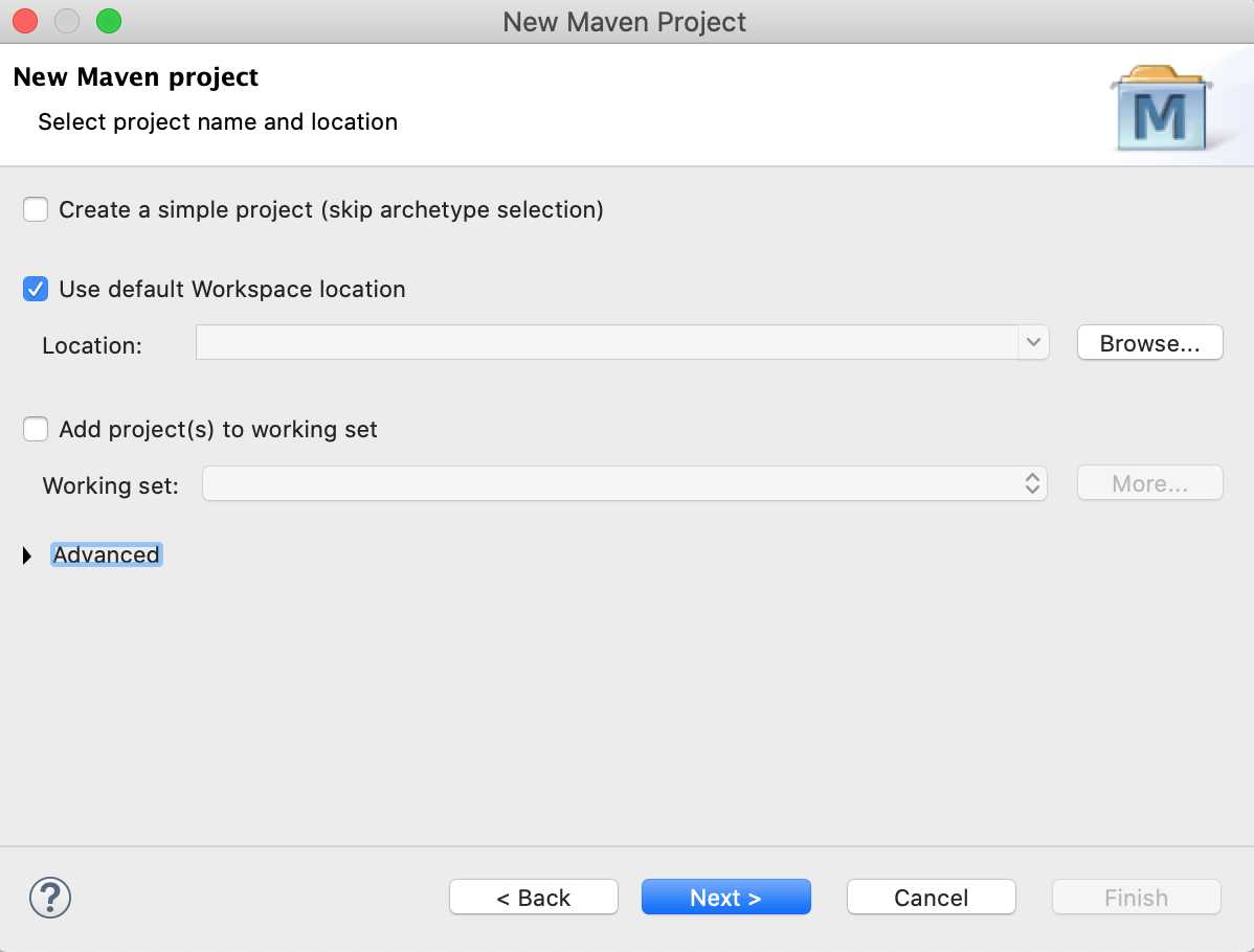 Eclipse New Maven Project Location Working Set