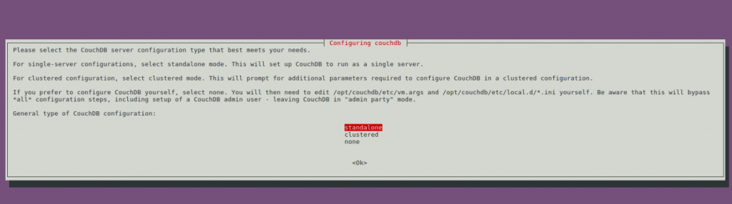 Configure Couchdb Prompt