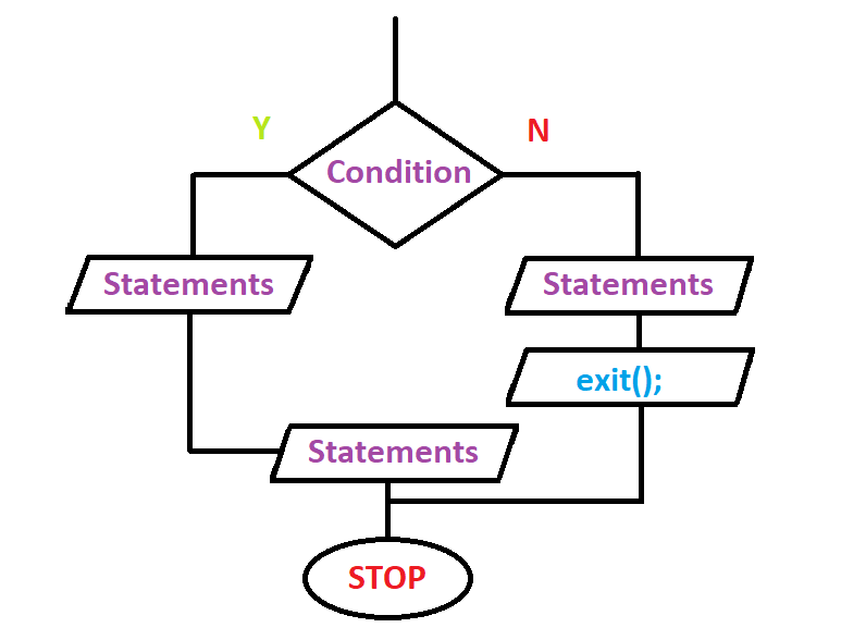 Flow Chart Representation Of Exit Function