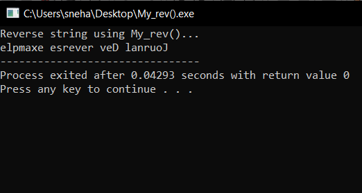 User defined My_rev() Output