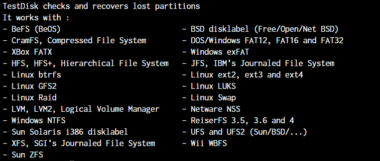 Partition Types Testdisk Works With - Install Testdisk on Linux