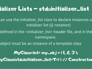 Initializer Lists Cpp