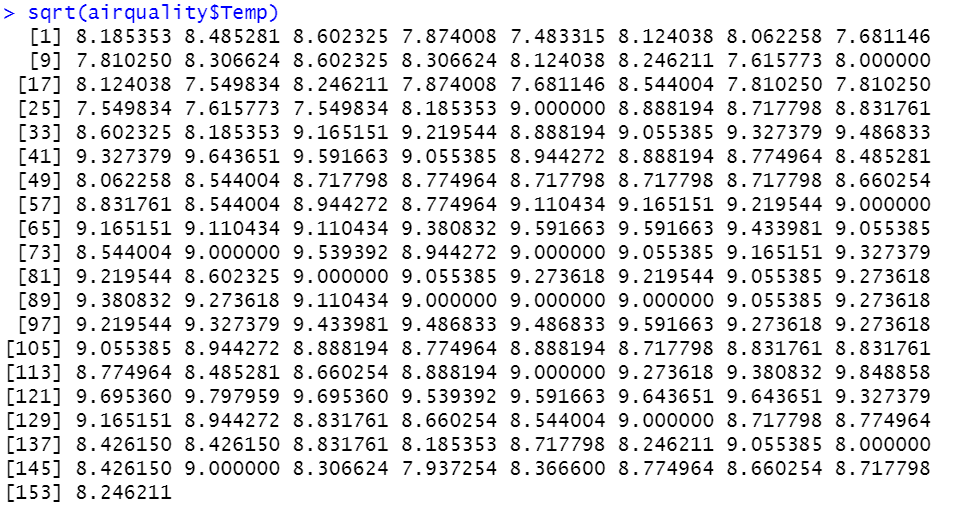 Square Root In R
