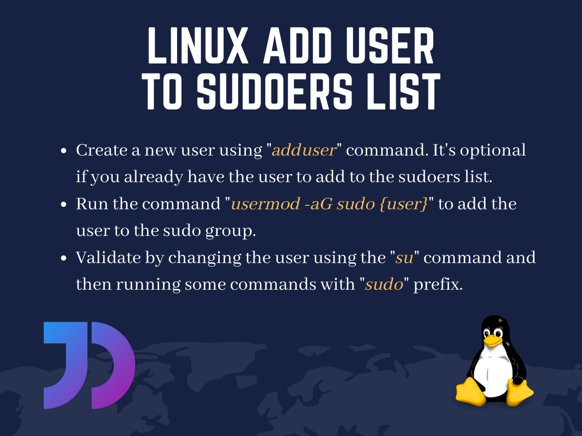 Linux Add User To Sudoers List