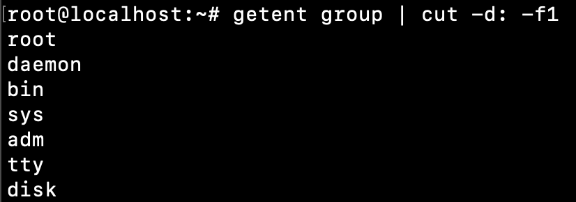 Linux Print All Group Names Getent Cut Command
