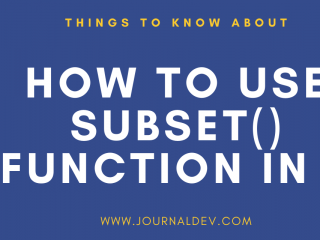Subset() Function In R