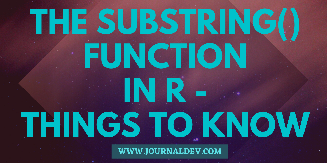 Substring() Function In R