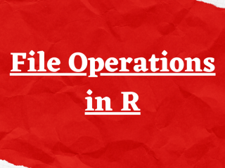 File Operations In R